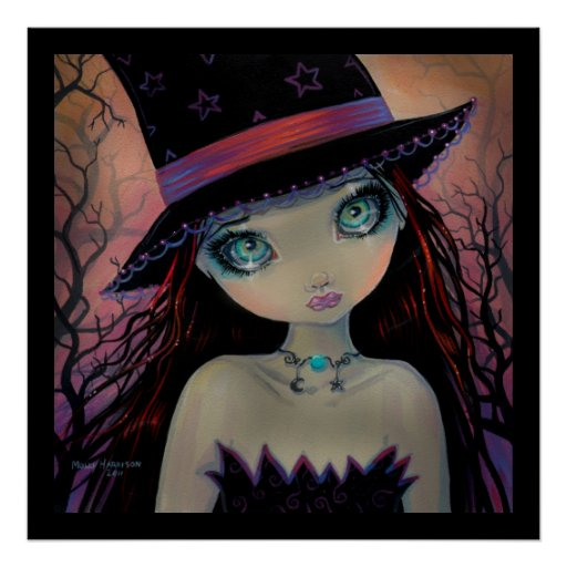 Bright Eyed Witch Fantasy Art Poster