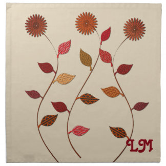 Bright Fall Collection Leaves Flowers Add Initials Napkin