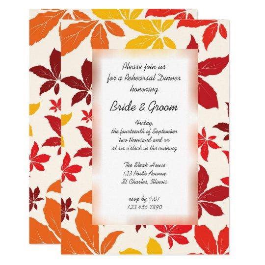 Bright Fall Leaves Wedding Rehearsal Dinner Invite