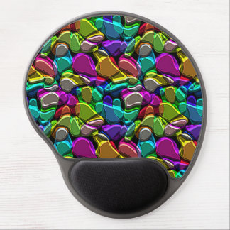Bright Faux Embossed Metallic Mosaic Pattern Gel Mouse Pad