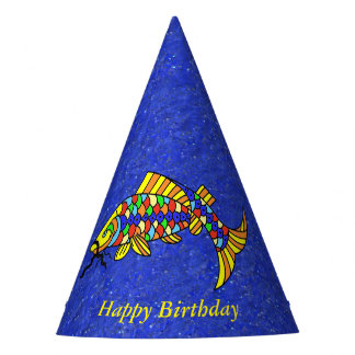Bright Festive Colorful Fish Sparkle Look Blue Party Hat