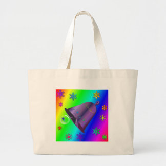 Bright, festive rainbow Bell Christmas Design Tote Bags