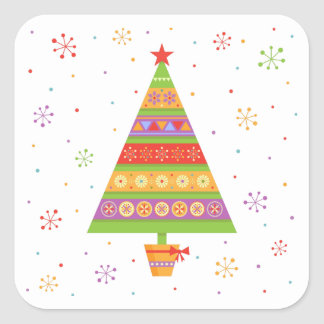 Bright fir tree in a pot with bow-knot square sticker