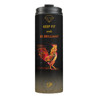 Bright fire rooster sparkle monogram quote design thermal tumbler