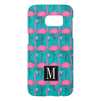 Bright Flamingo Pattern | Add Your Initial