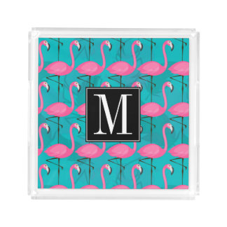 Bright Flamingo Pattern | Add Your Initial Acrylic Tray
