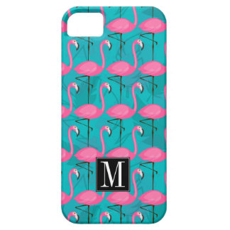 Bright Flamingo Pattern   Add Your Initial Barely There iPhone 5 Case