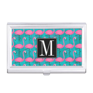 Bright Flamingo Pattern | Add Your Initial Business Card Holder