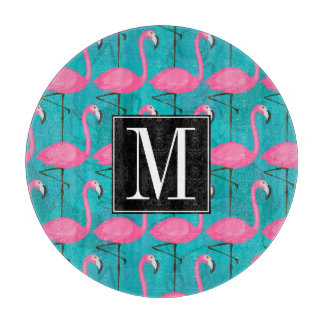 Bright Flamingo Pattern | Add Your Initial Cutting Board