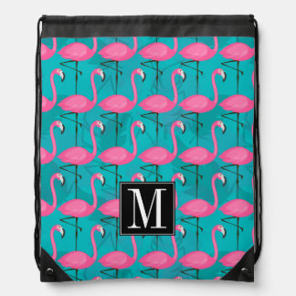 Bright Flamingo Pattern | Add Your Initial Drawstring Bag