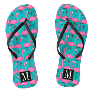 Bright Flamingo Pattern | Add Your Initial Flip Flops