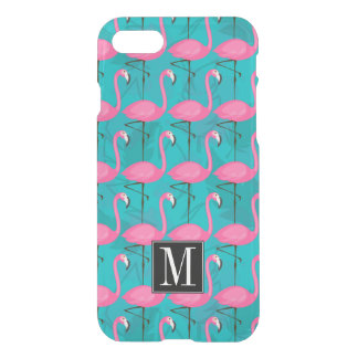 Bright Flamingo Pattern   Add Your Initial iPhone 8/7 Case