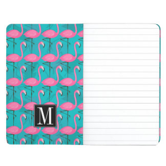 Bright Flamingo Pattern   Add Your Initial Journal
