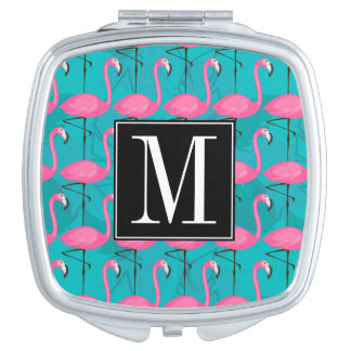 Bright Flamingo Pattern   Add Your Initial Makeup Mirror