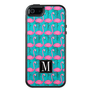 Bright Flamingo Pattern | Add Your Initial OtterBox iPhone 5/5s/SE Case