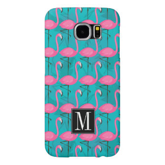 Bright Flamingo Pattern | Add Your Initial Samsung Galaxy S6 Cases
