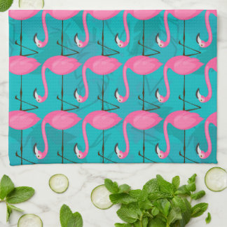Bright Flamingo Pattern | Add Your Initial Tea Towel