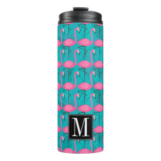 Bright Flamingo Pattern   Add Your Initial Thermal Tumbler
