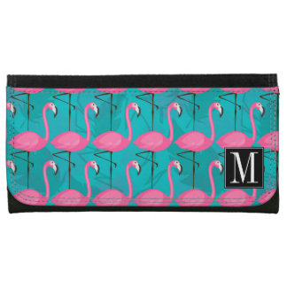 Bright Flamingo Pattern | Add Your Initial Wallet