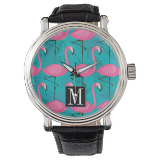 Bright Flamingo Pattern | Add Your Initial Watch