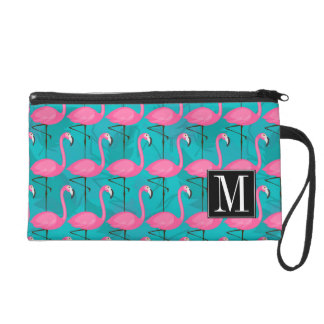 Bright Flamingo Pattern | Add Your Initial Wristlet