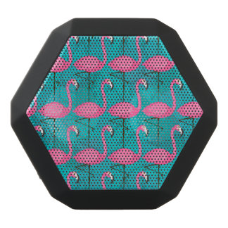 Bright Flamingo Pattern Black Bluetooth Speaker