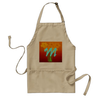 Bright Floral Anemone Collage Monogram Standard Apron