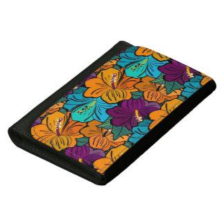 """Bright Floral"" Black Medium Leather Wallet"