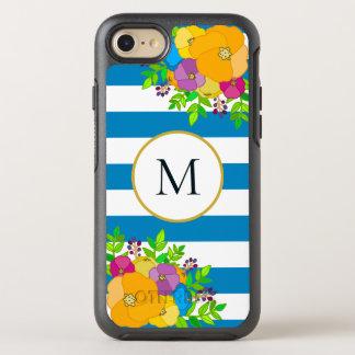 Bright Floral Blue White Striped Floral Monogram OtterBox Symmetry iPhone 8/7 Case