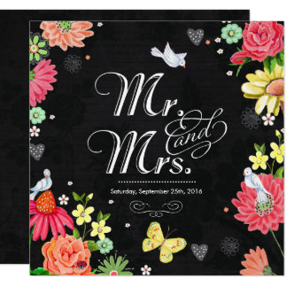 Bright floral Chalkboard | Wedding Invitations