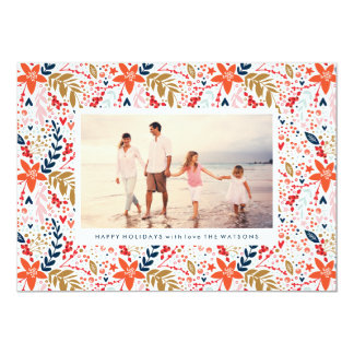 Bright Floral Christmas Pretty Holiday Photo Card