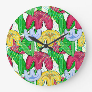 Bright floral doodle spring mood, flower girly gif large clock