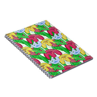 Bright floral doodle spring mood, girly gift idea spiral notebook
