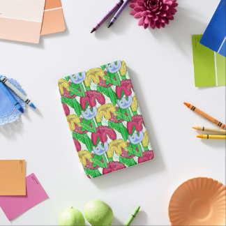 Bright floral doodle spring mood, girly gift ideas iPad mini cover