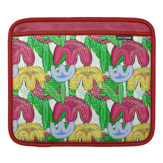 Bright floral doodle spring mood, girly gift ideas iPad sleeve