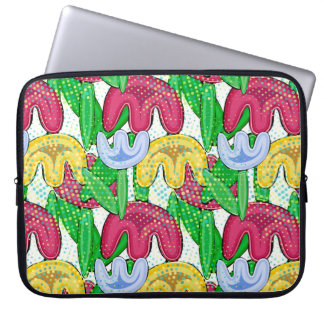 Bright floral doodle spring mood, girly gift ideas laptop sleeve