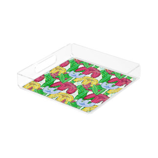 Bright floral doodle spring mood, home decor acrylic tray