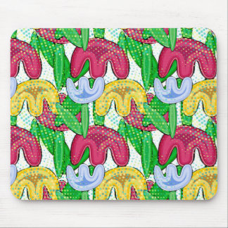 Bright floral doodle spring mood, retro flowers. mouse mat