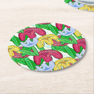 Bright floral doodle spring mood, themed party. round paper coaster