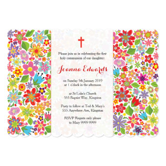 Bright Floral First Communion Personalised Invites