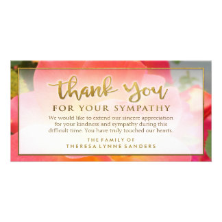 Bright Floral Golden Thank You Sympathy Card Photo Greeting Card