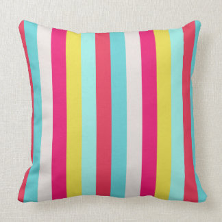 Bright Floral Pastel Stripes Throw Pillow