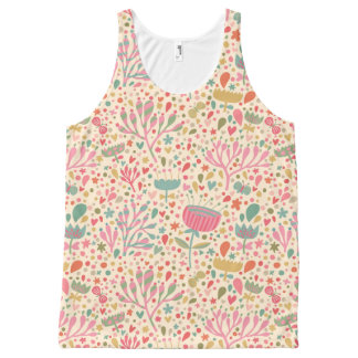 Bright floral pattern All-Over print tank top