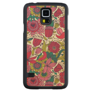 Bright floral pattern carved maple galaxy s5 case