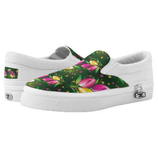 Bright floral pattern fun womens shoe printed shoes
