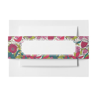 Bright floral pattern invitation belly band