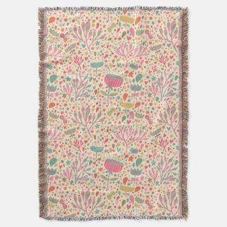 Bright floral pattern throw blanket