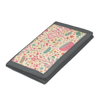 Bright floral pattern trifold wallets