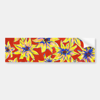 Bright Floral Pop Art Watercolour Bumper Sticker