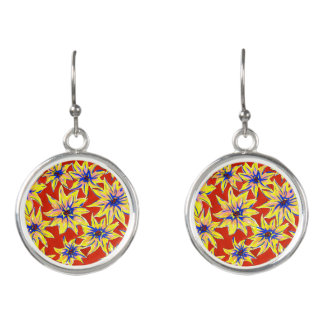Bright Floral Pop Art Watercolour Drop Earrings